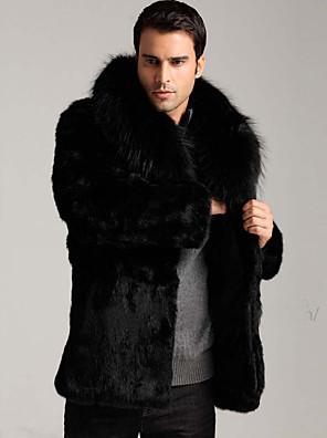 Muži Jednobarevné Běžné/Denní / Práce / Velké velikosti Jednoduché Kožich-Umělá kožešina Zima Do V Dlouhý rukáv Černá Tlusté