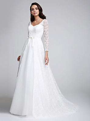 2017 A-line Wedding Dress Court Train V-neck Lace with Lace