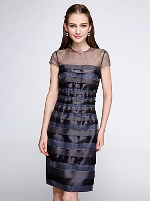 באורך  הברך קטיפה / שרמוז שמלה לשושבינה - שקוף מעטפת \ עמוד עם תכשיטים עם כפתורים