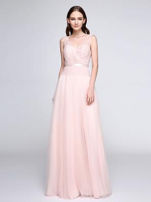 2017 Lanting andar de comprimento bride® Renda / Tule ver através vestido de dama de honra - bainha / coluna v-pescoço com rendas