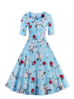 כל העונות כותנה כחול / ורוד אורך חצי שרוול עד הברך לב (סוויטהארט) פרחוני וינטאג' מסיבה\קוקטייל / מידות גדולות שמלה נדן / סווינג נשים,
