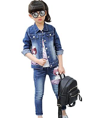 Girl's Cotton Spring/Autumn Casual Cartoon Print Cowboy Denim Coat T Shirt And Jeans Pants Three-piece Set