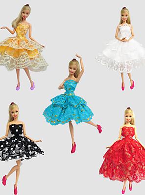 Fest/Aften Kjoler Til Barbie Doll Rød / Gyldent / Hvid / Sort / Blå Blonde Kjoler For Pigens Doll Toy