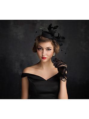 נשים נוצה / טול / פשתן / רשת כיסוי ראש-אירוע מיוחד קישוטי שיער חלק 1