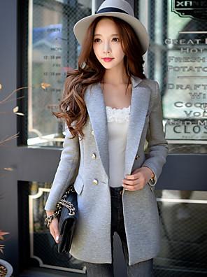 dabuwawa kvinders afslappet / arbejde vintage / sofistikeret blazer, solid hak revers lange ærmer