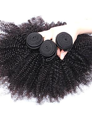 3stk masse 8-26 tommer uforarbejdede mongolsk jomfru hår naturlige sorte farve afro kinky krøllet menneskehår vævning