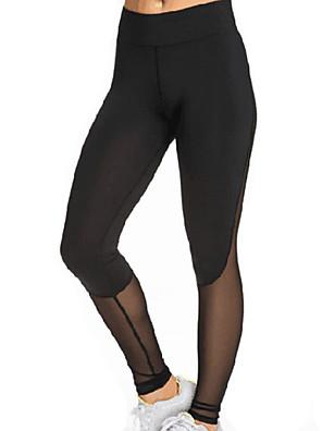 Ženy Síťka / Polyester Jednobarevné / Křížem sešité Legging
