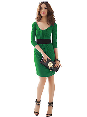Women's Party/Cocktail Sexy / Vintage Dress Above Knee ¾ Sleeve Pink / Green Polyester / SpandexAll Seasons / Spring / Summer / Fall /