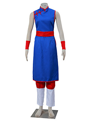 קיבל השראה מ Dragon Ball Son Goku אנימה תחפושות קוספליי חליפות קוספליי אחיד לבן / אדום / כחול בלי שרווליםCheongsam / מכנסיים / מחוך /