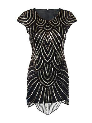 Dámské Vintage Společenské / Party/Koktejl Bodycon / Pouzdro Šaty Kašmírový vzor,Krátký rukáv Kulatý Délka ke kolenům Černá Polyester