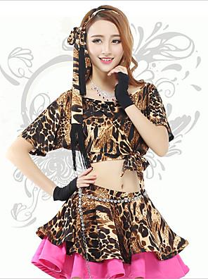 Dança do Ventre Blusas Mulheres Actuação Elastano Leopardo 1 Peça Manga Curta Natural Top 36cm