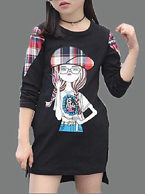 Girl's Casual/Daily Print Blouse,Cotton Spring / Fall Black / Red / White