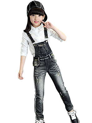 Girl's Cotton Spring/Autumn Fashion Print Jeans Pants Suspender Trousers Patchwork Solid Color Overalls