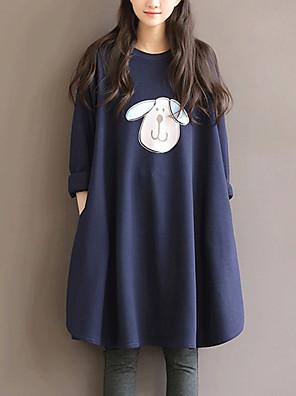 Gravidez Solto Vestido,Informal / Casual / Tamanhos Grandes Simples Estampado Decote Redondo Altura dos Joelhos Manga Longa AzulAlgodão /