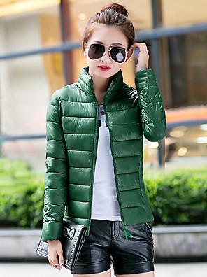 Standardní Dlouhý kabát Jednoduché Jednobarevné-Kabát Bavlna Polypropylen Dlouhý rukáv StojáčekModrá / Černá / Zelená / Žlutá /