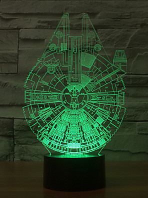 star wars Millennium Falcon 3D LED natlys 7colorful dekoration atmosfære lampe nyhed belysning christmas lys