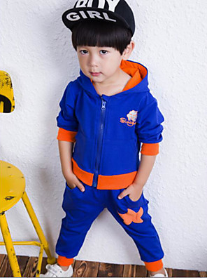 Boy's Casual/Daily Solid Clothing SetCotton Winter / Spring / Fall Blue / Orange