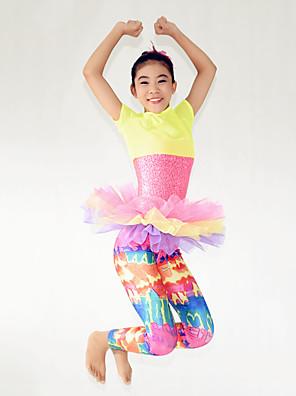 הופעות תלבושות בגדי ריקוד ילדים ביצועים ספנדקס / פוליאסטר / נצנצים שכבות מדורגות 3 חלקים שרוול קצר גבוה מכנסיים / Leotard / עליוןAs the