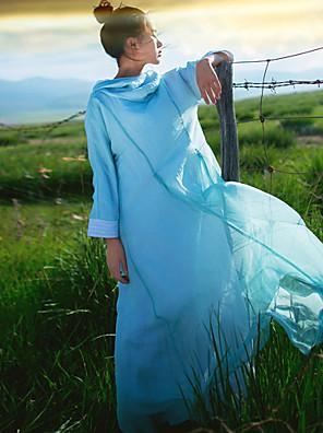 Dame Simpel Casual/hverdag Løstsiddende Kjole Ensfarvet,Hætte Maxi Langærmet Blå Hør Efterår Alm. taljede Uelastisk Medium