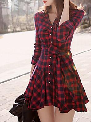 Vestido,Casual Xadrez Colarinho de Camisa Acima do Joelho Manga Longa Vermelho Algodão Outono Micro-Elástica Média