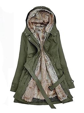 Dámské Standardní Parka Velké velikosti Patchwork-Kabát Bavlna / Jiné Dlouhý rukáv Kapuce Béžová / Černá / Zelená