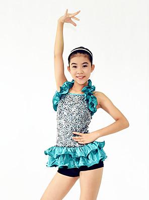 ג'אז תלבושות בגדי ריקוד נשים / בגדי ריקוד ילדים ביצועים ספנדקס / פוליאסטר / נצנצים Paillettes / קפלים / נצנצים / שכבות 4 חלקים בלי שרוולים
