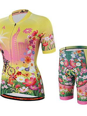 Miloto® Camisa com Shorts para Ciclismo Mulheres Manga Curta MotoRespirável / Secagem Rápida / Permeável á Humidade / Fecho YKK / Redutor