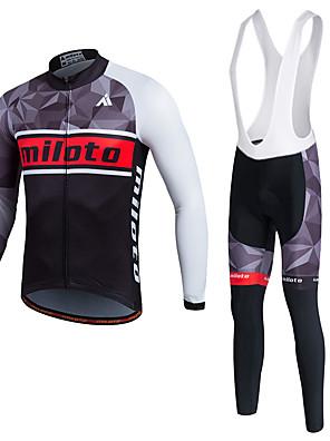 Miloto® חולצת ג'רסי וטייץ ביב לרכיבה לגברים / יוניסקס שרוול ארוך אופניים נושם / ייבוש מהיר / חדירות ללחות / 3D לוח / תומך זיעהטייץ רכיבה