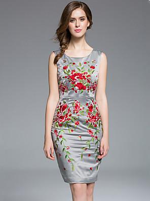masa mulheres Plus Size / sair de rua chique / chinoiserie bodycon dressembroidered em torno do pescoço