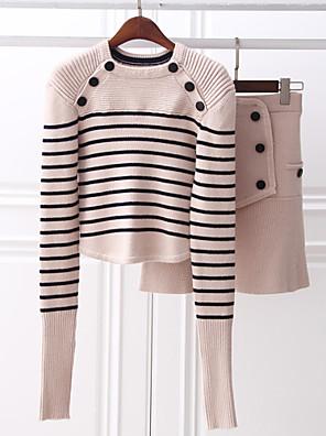 Dames Eenvoudig Lente Set Rok Suits,Casual/Dagelijks Gestreept Strakke ronde hals Lange mouw Blauw / Wit Katoen / Polyester Medium