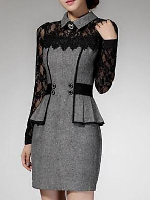 Dámské Krajka Mini Polyester Šaty Košilový límec Dlouhý rukáv
