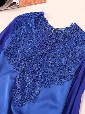 Langærmet Medium Blå / Hvid / Sort Efterår Sofistikerede Bluse,Akryl