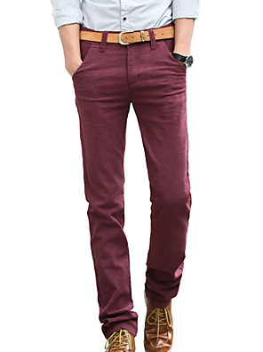 Men's Solid Casual / Work JeansCotton / Linen / Polyester / Spandex Black / Blue / Red MG106