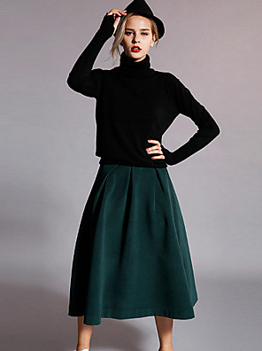 Rayon / Polyester-Micro-elastisch-Eenvoudig-Tot de knie-Vrouwen-Rokken