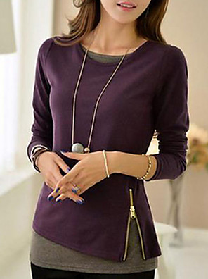Women's Round Collar Contrast Color T-shirt(More Colors)