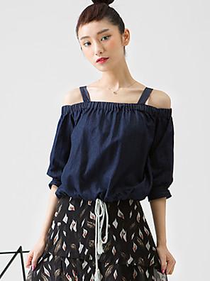 room404 kvinders gå ud simpel blousesolid off skulder længde ærme blå rayon / spandex uigennemsigtig