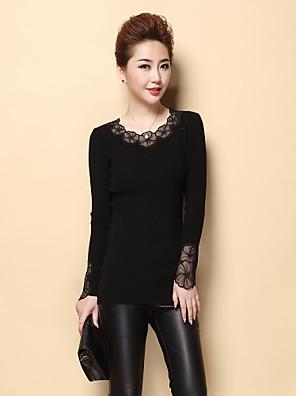 Dames Casual/Dagelijks Eenvoudig Normaal Pullover Effen-Rood / Zwart / Grijs Ronde hals Lange mouw Polyester Herfst Medium Micro-elastisch