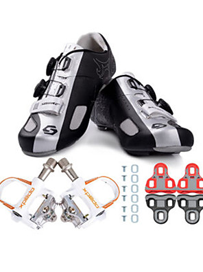 sidebike Sapatos para Ciclismo Unisexo Ao ar Livre / Bicicleta de Estrada Tênis Húmido / Almofadado Preto / Prateado
