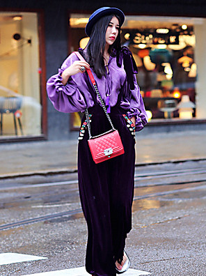 Whisper Wheat Women's Going out / Casual/Daily Vintage Fall ShirtSolid Asymmetrical Long Sleeve Purple Rayon Thin