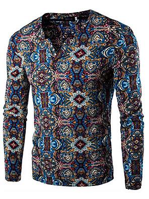 Masculino Camiseta Algodão Estampado Manga Comprida Casual / Esporte-Azul / Roxo / Vermelho