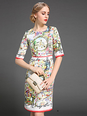stephanie női kiment vintage köpeny dressjacquard kerek nyakú térd felett hossz ujjú