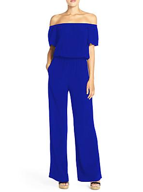 Szexi / Egyszerű Női Jumpsuits,Rövid ujjú,Vékony,Mikroelasztikus,Poliészter