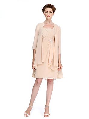 2017 לנטינג אמא נדן / טור bride® של שמלת הכלה באורך הברך 3/4 אורך שיפון שרוול עם שתי וערב