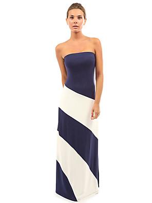 קיץ כותנה כחול / שחור / סגול ללא שרוולים מקסי סירה מתחת לכתפיים קולור בלוק סקסי פורמאלי שמלה נדן נשים,גיזרה בינונית (אמצע) סטרצ'י (נמתח)