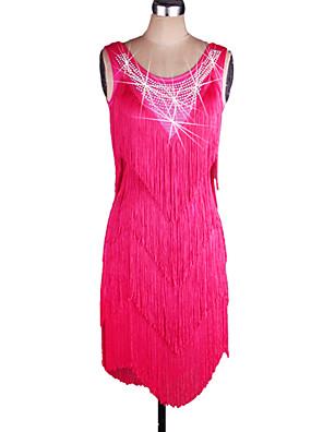 ריקוד לטיני שמלות בגדי ריקוד נשים ביצועים ספנדקס / אורגנזה גדיל (ים) חלק 1 בלי שרוולים טבעי שמלות Dress Shortest:75cm/Longest:95cm