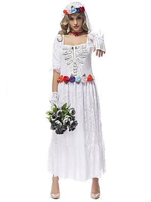 הופעות תלבושות בגדי ריקוד נשים ביצועים פוליאסטר / תחרה תחרה / דפוס / הדפסה 4 חלקים שרוול ארוך טבעי כפפות / שמלות / אביזרים לשיער 126cm