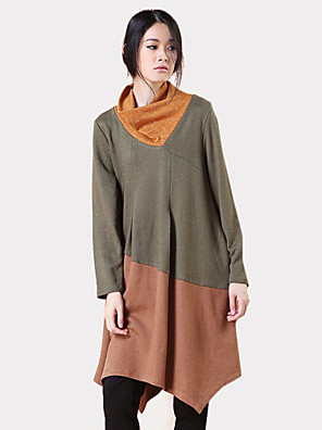 Women's Casual/Daily Simple Spring / Fall T-shirt,Color Block Cowl Long Sleeve Green Rayon Medium