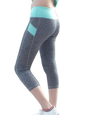 מכנסיים יוגה 3/4 טייץ / מכנסי שלושה רבעים / תחתיות נושם / ייבוש מהיר / דחיסה / נוח טבעי גמישות גבוהה בגדי ספורטצהוב / ירוק / ורוד / שחור