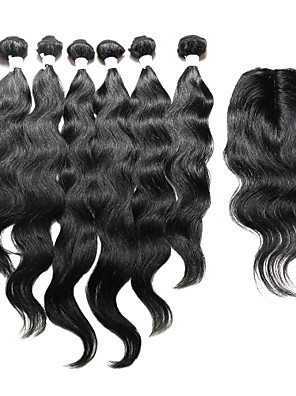 7 Dele Naturligt, bølget hår Human Hair vævninger Indisk hår Human Hair vævninger Naturligt, bølget hår