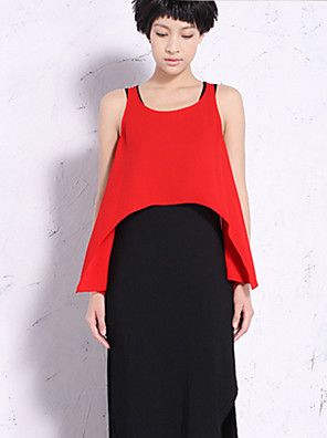 NEW BEFORE  Women's Casual/Daily Simple Summer Tank TopSolid Round Neck Sleeveless Blue / Red